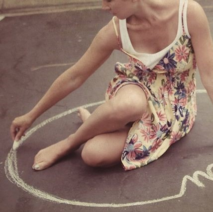 where to draw the line - woman draws boundary in chalk